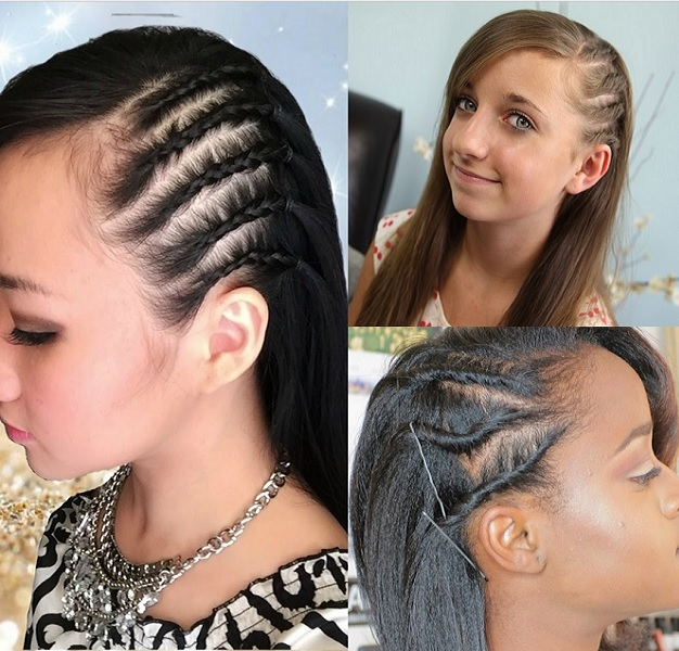 side braids for 9 and 10 year old girl