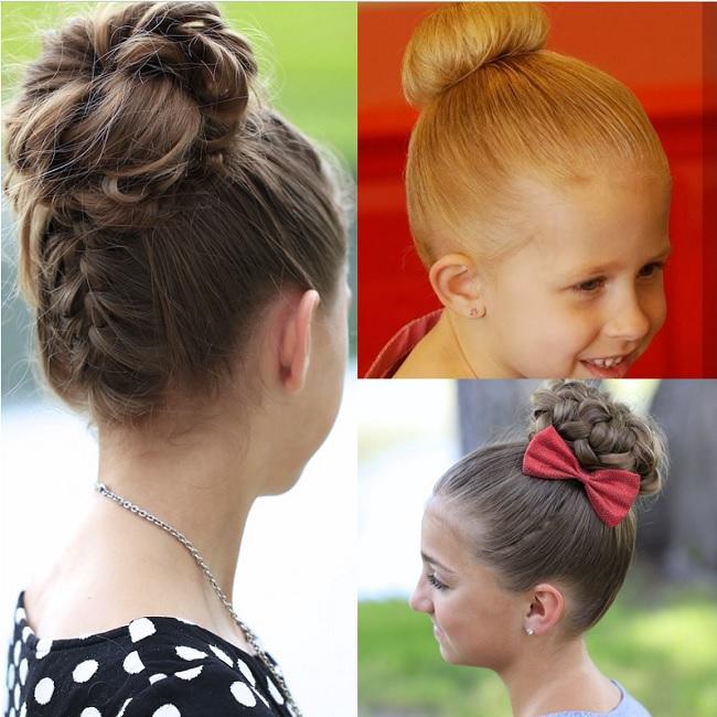 braided bun hairstyles for little girls