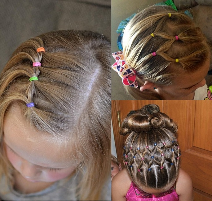 patterned tied up hairstyle for girls