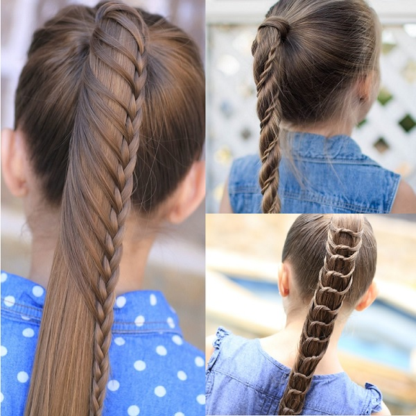 braided ponytail for 9 and 10 year old girl