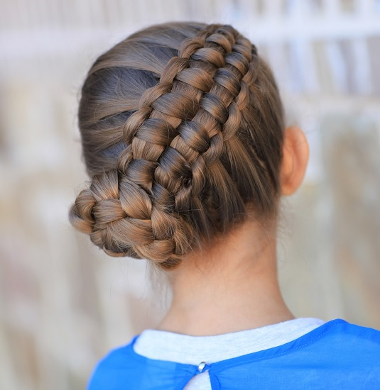 braided bun hairstyle for 12 year girl