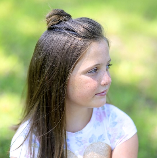 hairstyle with bun for 12 year old girl