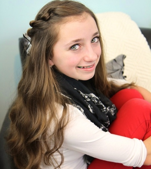 side braid hairstyle for 12 year old girl