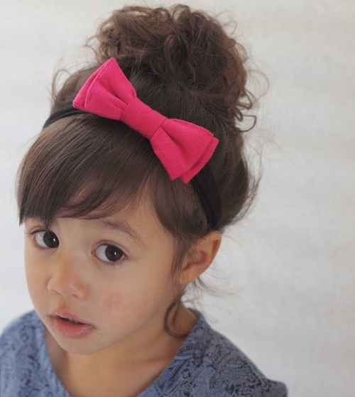 Short Bangs with Bun for Toddler Girls