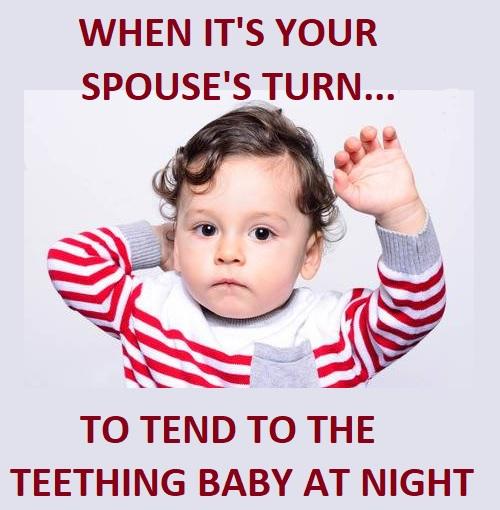 cute teething baby memes