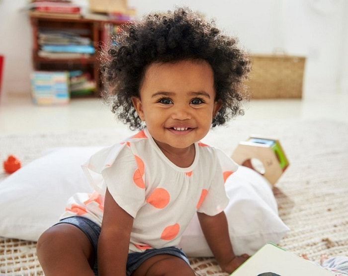 black baby girl's afro hair