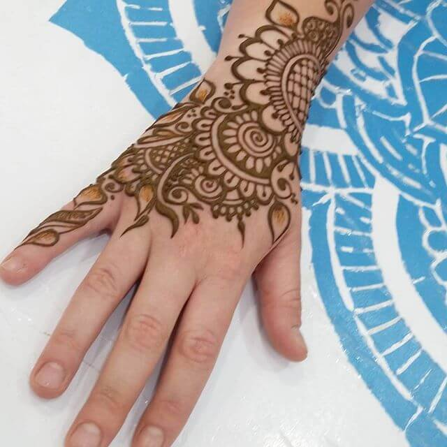 Flowers And Mandala Pattern Henna Design for Kids