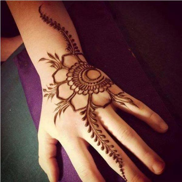 Flower and Leaves Henna Design for Kids