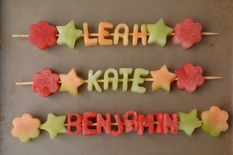 melon letter cutouts