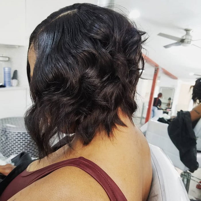 black girl's beach wave bob