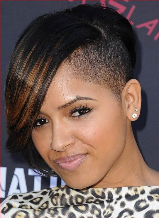 half shaved bob for black girls