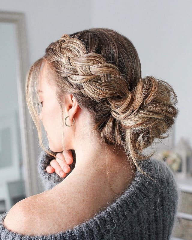 side braid with bun for girls