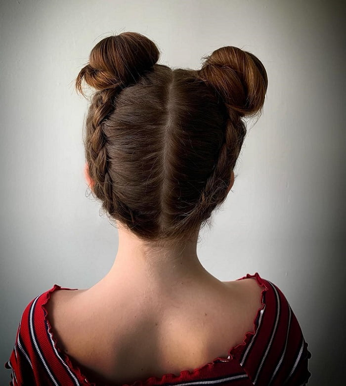reverse braided hairstyles with bun for girls