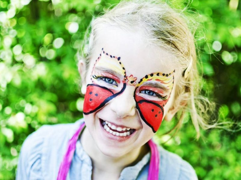 two toned butterfly face painting ideas for kids