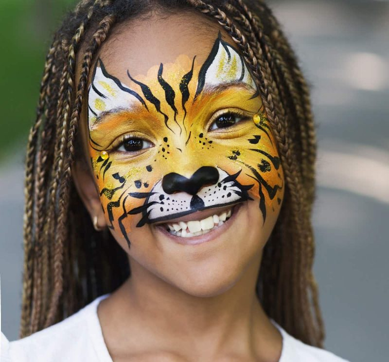 warrior face painting design for kids