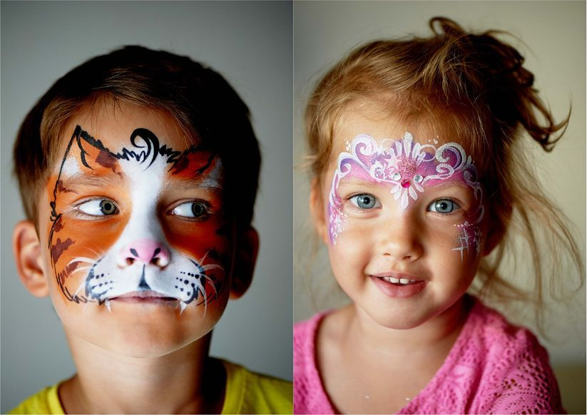 complex bi-chrome face painting design for kids