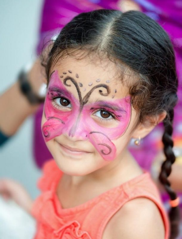 pink butterfly design for kids face painting