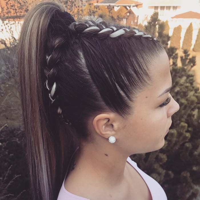 central braids with high ponytail for girls