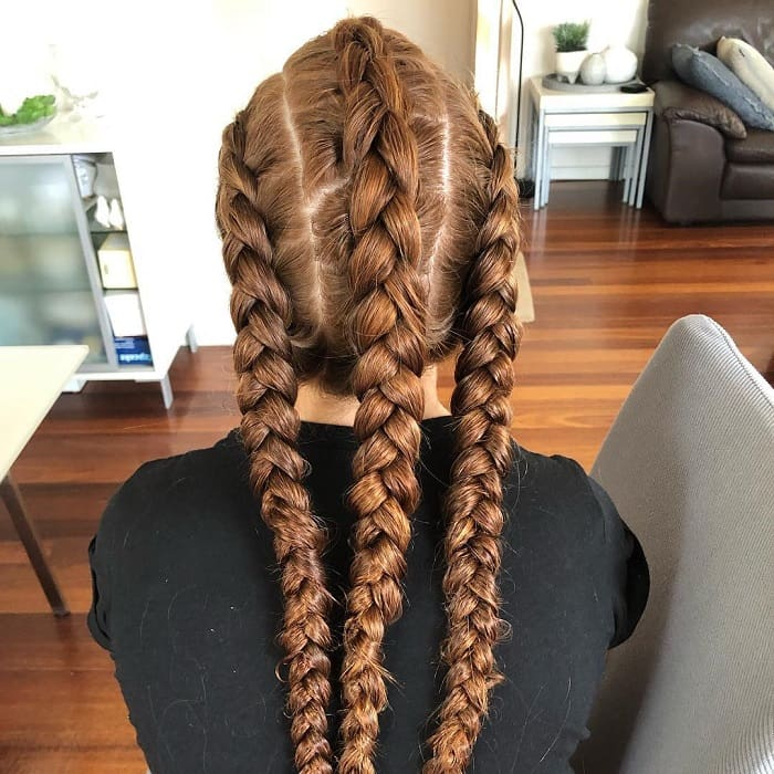 triple braided hairstyles for girls