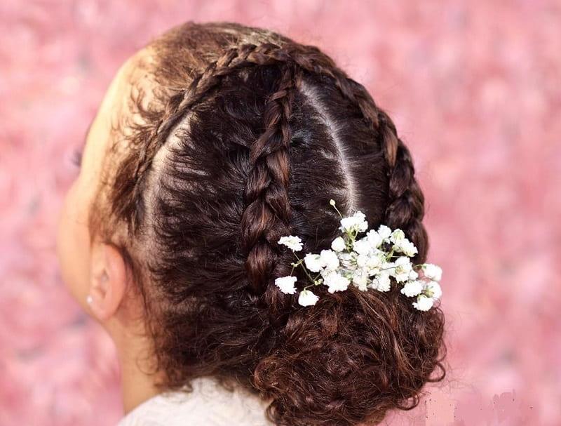 flower girl with braided bun