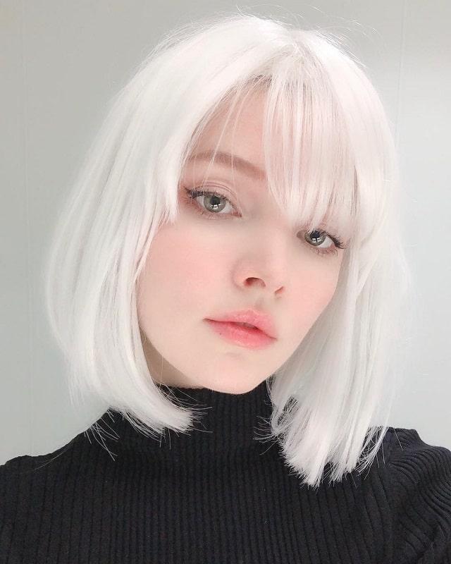 platinum bob hairstyle for girls