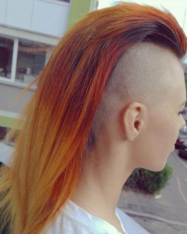 girls with red mohawk hair with shaved side