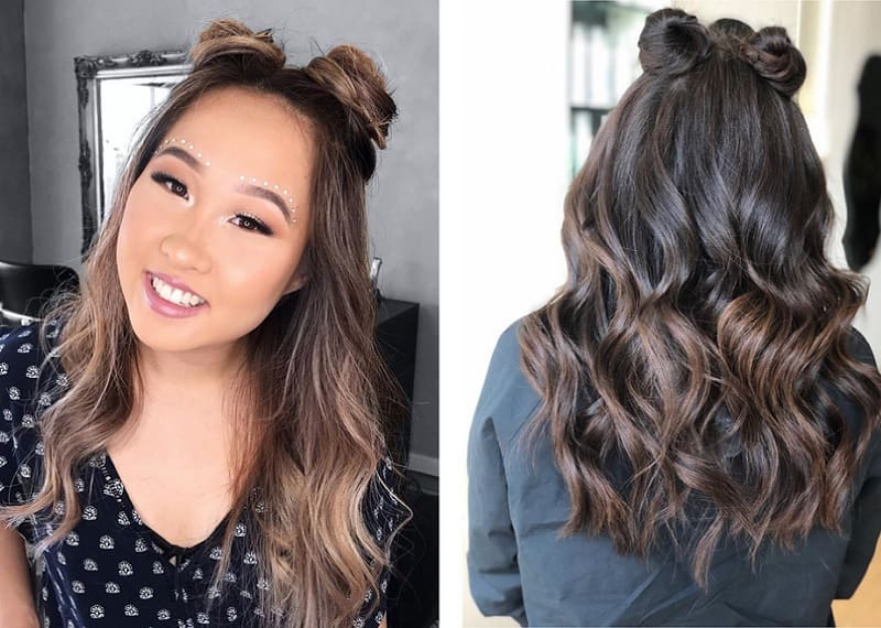 space bun styles for girls