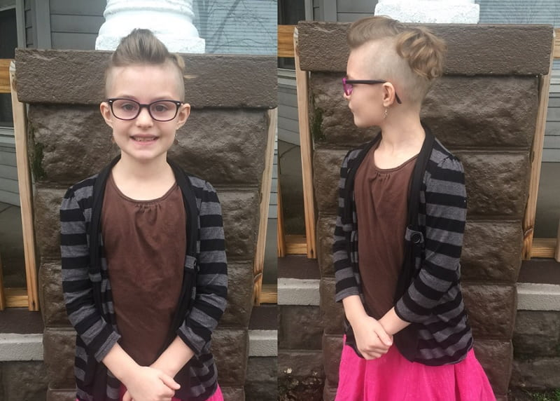 little girl's mohawk hairstyle with shaved sides