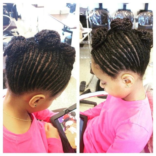 little girl's mohawk with cornrow braided bun