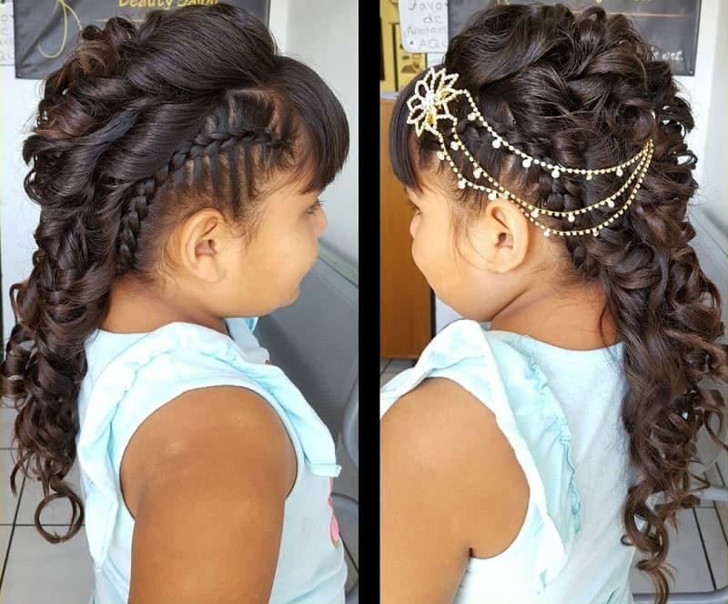 littles girl's mohawk style on long hair
