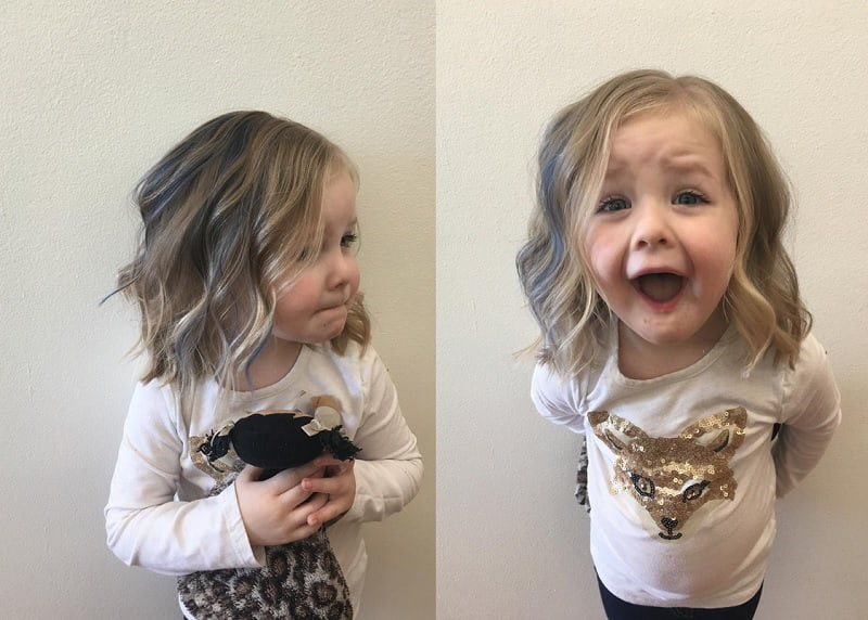 little girls with highlighted short wavy hair