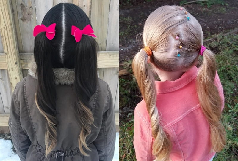 little girls with pigtail hairstyle