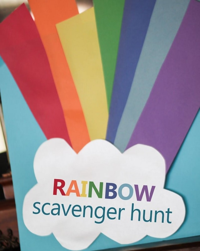 rainbow scavenger hunt for 3 years old kids