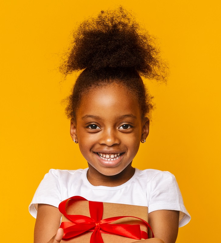 Afro little girl with high ponytail