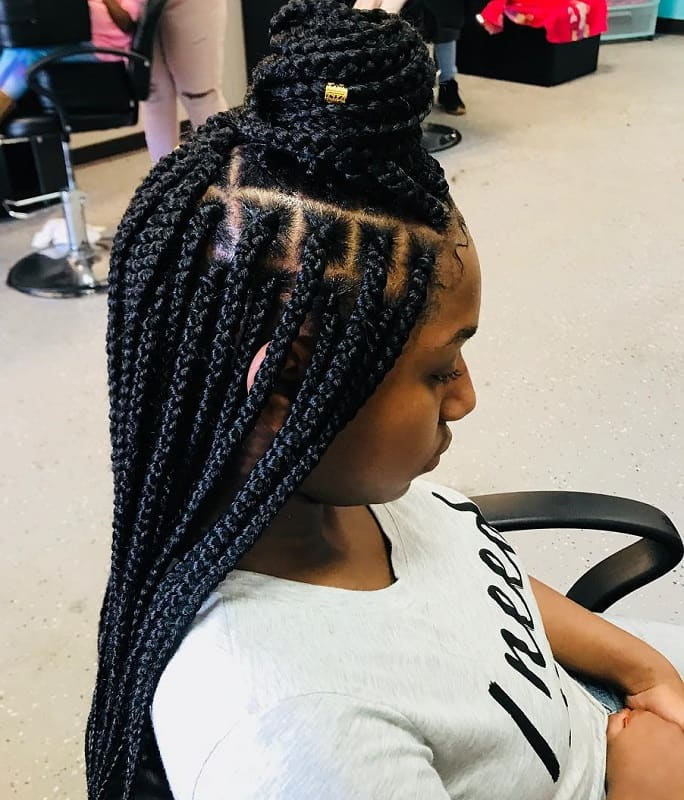 box braided weave bun for black girls