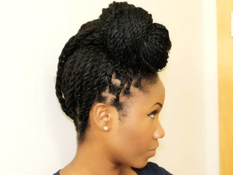 black girl with braided updo