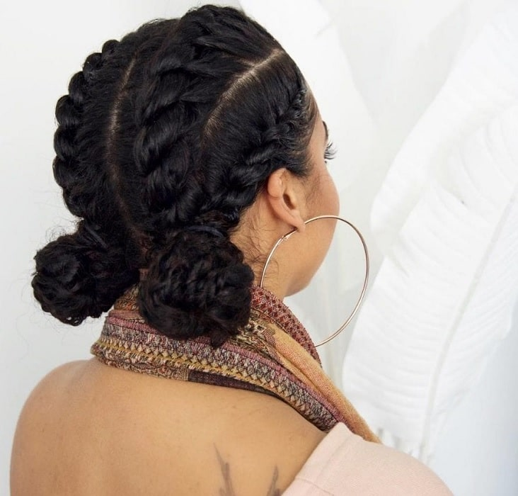 black girl with braided low bun