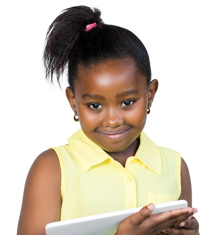 black little girl's sleek ponytail