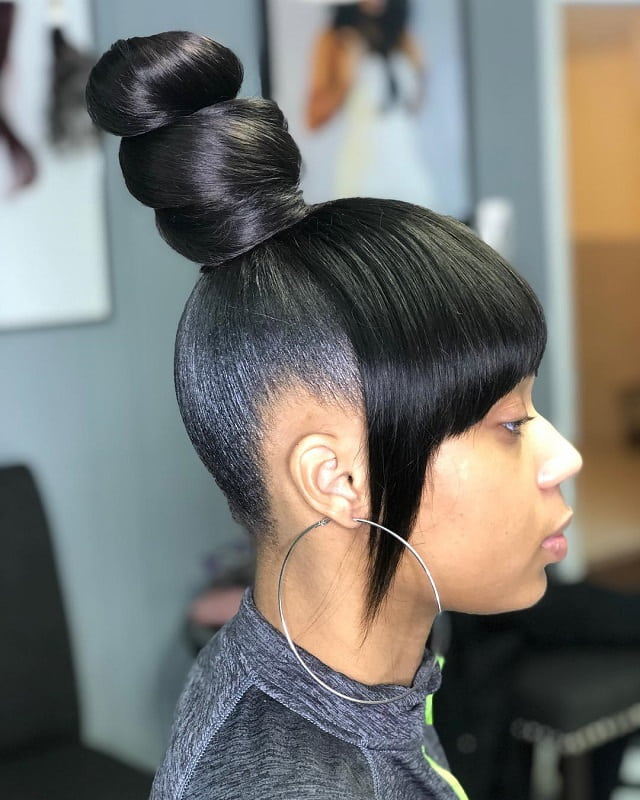 top knot with bangs for black teenage girls