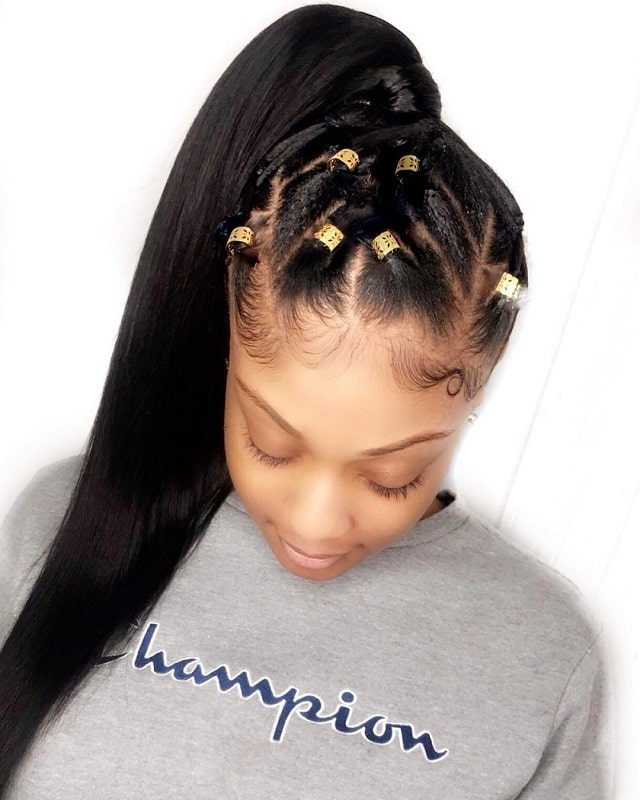 braid pony with beads for black teenage girls