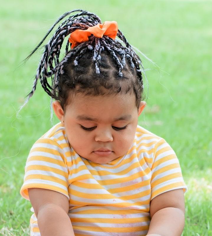 black toddler girl's braided ponytail