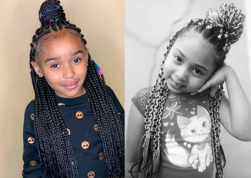 box braided top knot for little girls