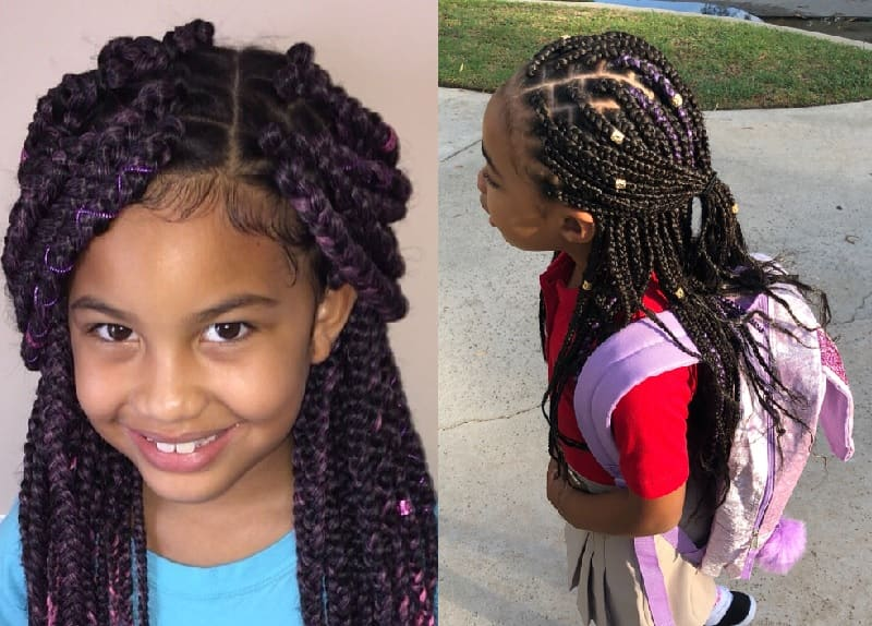 little girl box braids with side part