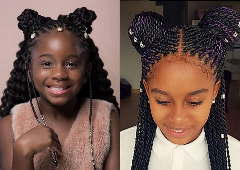 double bun with box braids for little girls