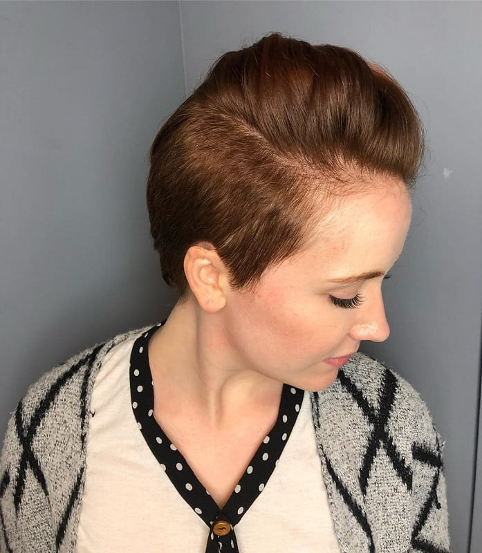 girl with quiff hairstyle