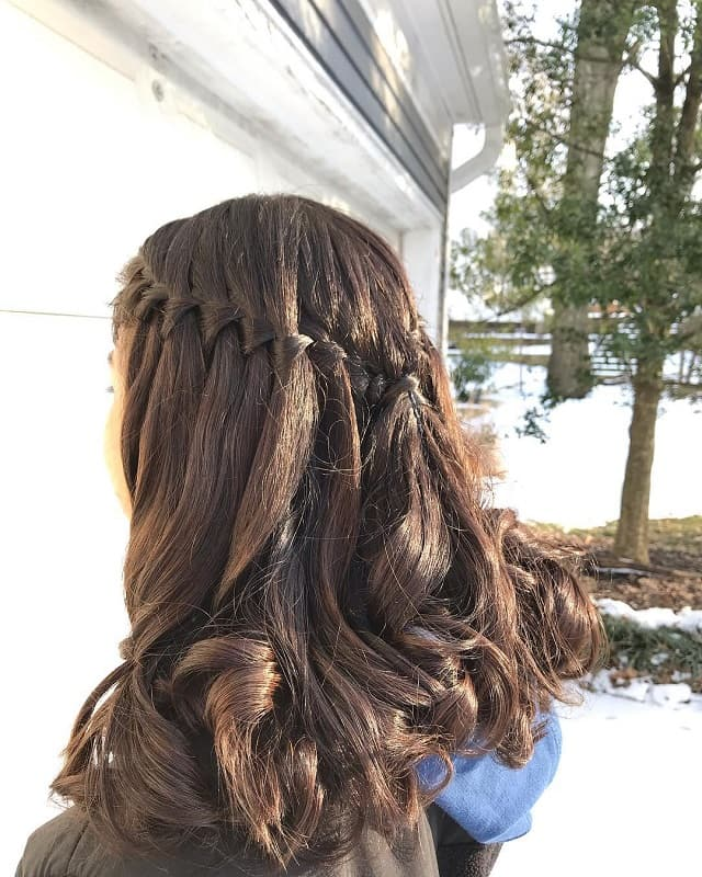 Waterfall Braid Half Updo for School Girl