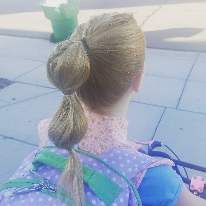 bubble ponytail for school girl