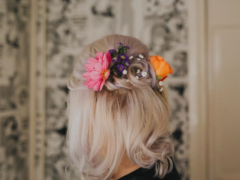 Half Up wedding Hairstyle for girls with Flowers
