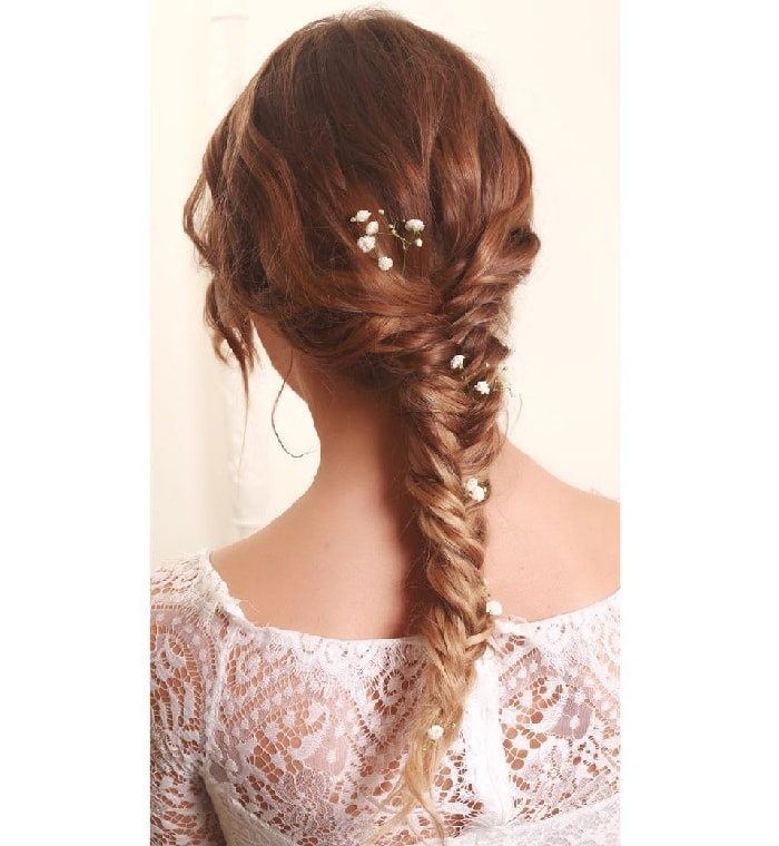 wedding hairstyle with fishtail braid for girls