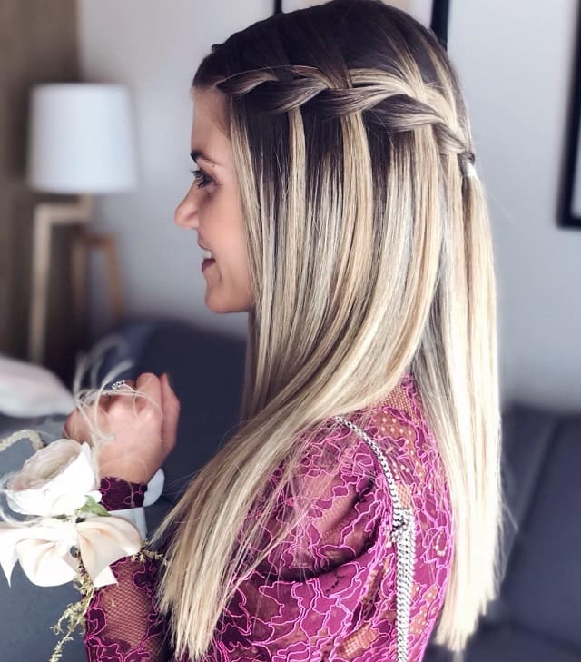 girl with waterfall braid for wedding